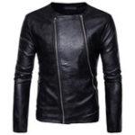 Оригинал DiagonalDoubleZipperOШеяPU Искусственная кожаная куртка для мужчин