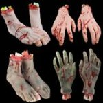 Оригинал Halloween Decorations Latex Fake Feet 1Pair Blood Horror Scary Broken Feet Hand