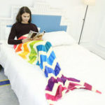 Оригинал Mermaid Blanket Flannel Fleece Rainbow Mermaid Tail Blanket Adult Sofa Mermaid Quilt Wrap Soft Stripe Throw Blanket Bedding Outlet Mermaid Throw Blanket Handmade Mermaid Tail Blanket for Adult Kid