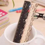 Оригинал Mrosaa 15см Wood Straight Ruler Симпатичные сладкие старинные кружевные резьбы для Kid Gift Office Школа Поставки
