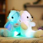 Оригинал 32смМаленькийСветодиодныйИгрушкиПлюшевыемигающие игрушки медведя Светящиеся подушки фаршированные Soft Животные Кукла