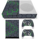Оригинал Зеленая сетка Виниловые наклейки для наклеек наклейки для Xbox One S Игровая консоль и 2 контроллера