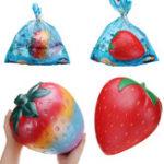 Оригинал 2PCS Giant Strawberry Squishy 26 * 22CM Огромные фрукты медленно растут Soft Коллекция подарков для игрушек с упаковкой