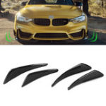 Оригинал 4шт Real Carbon Fiber Side Shark Fins Canards Наклейка для Mercedes-Benz / BMW / Audi / Lexus