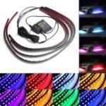 Оригинал 4шт Водонепроницаемы RGB Авто LED Декоративные огни Газовое подполье Neon Лампа Набор 12V с Дистанционное Управление