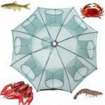 """Оригинал ZANLURE38""""8ОтверстияNylonАвтоматическая складывающаяся Рыбалка Чистая клетка для креветок для крабов Рыбная ловушка Cast Net"""