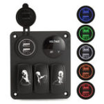 Оригинал 12V-24V 3 Gang 5V 3.1A Двойной USB-вольтметр LED Кабель-переключатель выключателя