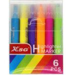 Оригинал 6pcs / set Смазливая ручка Highlighter печатания 6 цветов Маркеры Pen Office Канцелярские принадлежности Подпись чертежа