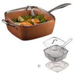 Оригинал 4PCS/SetМедьКвадратныйшеф-повар индукции с стеклянной крышкой Fry Basket Сковорода Паровая стойка