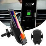 Оригинал Беспроводное Qi Быстрое зарядное устройство Авто Зарядное устройство для вентиляции IR Датчик Для Samsung S9/S9 + / S8