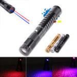 Оригинал U KING ZQ-J34 650 / 450nm Красный / Синий Два цвета Лазер Указатель Фонарик High Power Лазер Ручка 5mw