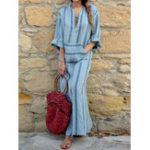 Оригинал Женское бобо хлопковое белье с длинным рукавом полосатое свободное платье