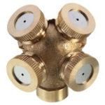 Оригинал 4 Отверстие Регулируемое латунное распылительное устройство для наплавки сопла Yard Lawn Sprinkler Irrigation Fitting