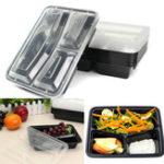Оригинал 10шт Контейнеры для еды Prep Контейнеры Пластиковые Хранение продуктов Микровыгодные Многоразовые 3 отсека Обед Коробка