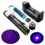 Оригинал XANES PL04 303 405nm 1mw Фиолетовый свет Лазер Набор указателей + 18650 Батарея + Зарядное устройство