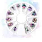 Оригинал 12Pcs 3D Seven Color Glass Diamond Ногти Советы по искусству