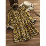 Оригинал Plus Размерная пера Печать с длинным рукавом Плиссированная блуза из пеплета