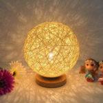 Оригинал Rattan Ball Night Light Настольная прикроватная лампа Спальня Home Decor Valentine Gift