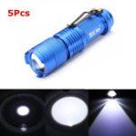 Оригинал 5PcsСинийцветMECOQ5500LM Многоцветный Zoomable Mini LED Фонарик 14500 / AA
