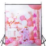 Оригинал 5x7ft Розовый Воздушный шар День рождения Фотография Заставка Студия Prop Background