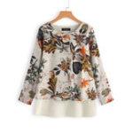 Оригинал Plus Размер Винтаж Цветочные печати хлопок льняная блузка