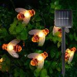 Оригинал 7M Солнечная Приведено в действие 50 LED Водонепроницаемы Мед Bee Светильник шнурка теплый белый Лампа Рождественский декор