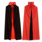 Оригинал Halloween Vampire Cloak Для взрослых Kids Dracula Devil Cape Cosplay Реверсивные костюмы