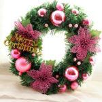 Оригинал 30смРождественскийвенокПлотныесосновые иглы Веселые рождественские буквы Ротангские дверные венки