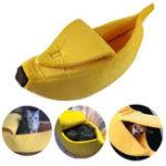 Оригинал Pet Собака Кот Кровать Теплый дом Мат Прочный питомник Собакаgy Soft Puppy Подушка Банановая форма корзины