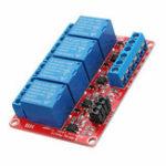 Оригинал 10Pcs DC12V 4-канальный уровень триггера Модуль оптоволоконного реле Модуль питания для Arduino