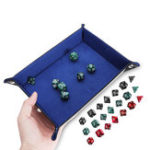 Оригинал Портативная складка Кости Кожа PU с 7 полиэдральными Кости для настольной игры Кости