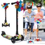 Оригинал BIKIGHTДетиСкладывающиесямигающие3колеса Трицикл Kick Push Дети Скутер Kickboard Регулируемая ручка высоты