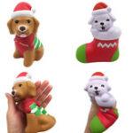 Оригинал Squishyfun Christmas Puppy Sock Собака Squishy 13CM Лицензированный медленный рост с упаковкой