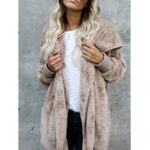 Оригинал Женское Multicolor Fluffy Faux Fur Soft с капюшоном