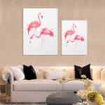 Оригинал Unframed Современный художественный холст Flamingo Масло Картина Печать Настенные подвесные плакаты