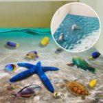 Оригинал КреативнаянаклейканастенахМультяшнаяморская звезда Dolphin 3D Ocean Пляжный Наклейки для пола Съемная надпись Mural