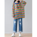 Оригинал Женское Повседневный Loose O-образным вырезом с длинным рукавом трикотажные свитера