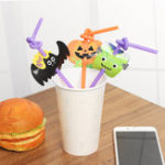 Оригинал 12Pcs / Pack Halloween Fun Straw Multicolour Tubularis Cute Cartoon Party Supply