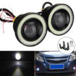 Оригинал Pair 2.5Inch Авто LED Противотуманные фары с кольцом для глаз Halo Angel CORL DRL Проектор Объектив Водительский свет Набор