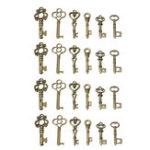 Оригинал 24 Antique Old Винтаж Look Skeleton Keys Lot Bronze Tone Pendants Jewelry Mix Set