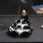 Оригинал Черный фарфор Lotus Backflow Керамический Горелка для благовоний Кадило-конус Палка Держатель Ароматный декор