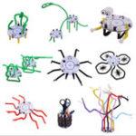 Оригинал 101 DIY Straw Robot Smart Robot Light Голосовой сенсорный контроль Обучающий игрушечный робот для детей