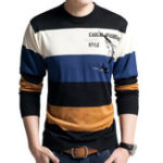 Оригинал Мужская мода Breathable Pullover Color Block Casual Tops