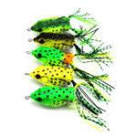 Оригинал 5шт12г6смДвойнойКрюк Soft Лягушка Рыбалка Приманка Верхняя вода Искусственная приманка Snakehead Рыбалка Набедренная наковальня
