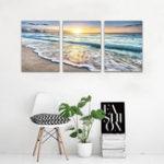 Оригинал ПляжныйХолстСтенаArtSunsetSand Ocean Sea Wave 3 Панель Главная Картина Декор Живопись