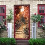 Оригинал Maple Path Self Adhesive Mural Decals 3D Дверная наклейка для дома Home Decor Waterproof