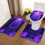 Оригинал 3PcsHalloweenNon-slipSoftКоврикдля туалетной кровати с подставкой для ванной Ванная комната Washable Rug Set