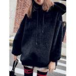 Оригинал Толстый Faux Fur с капюшоном сплошной цвет с длинным рукавом