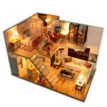 Оригинал Loft Apartments Миниатюрная кукольная деревянная кукольная мебель для дома LED Набор Подарки на День Рождения