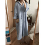 Оригинал Plus Размер Женское Loose Solid Color Long Sleeve Рубашка Платье